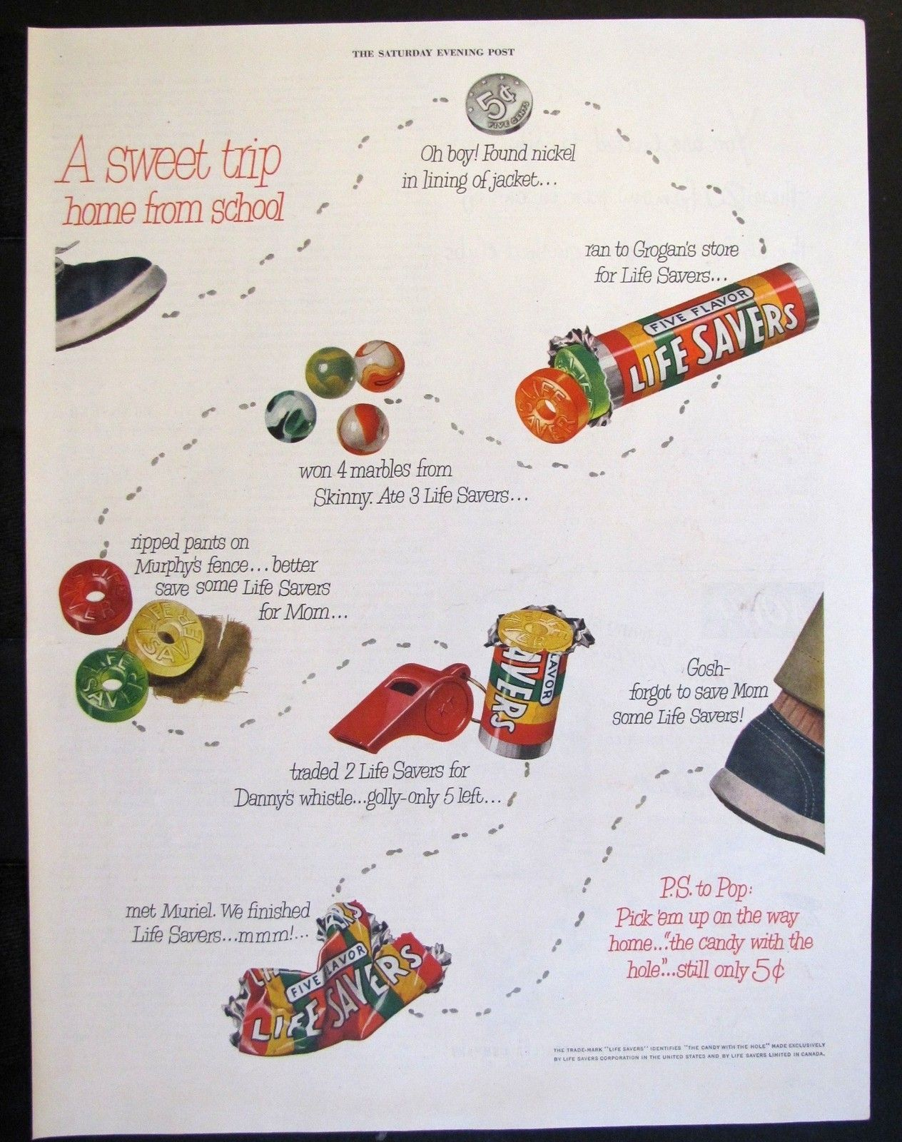 1951 Life Savers Candy Magazine Ad Roll Fruit Flavored A Boys
