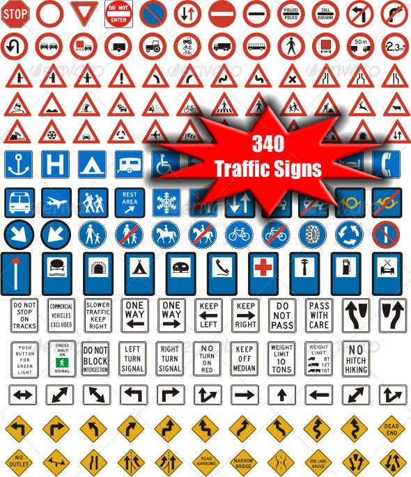 340 Vectorized Standard Traffic Signs GraphicRiver A