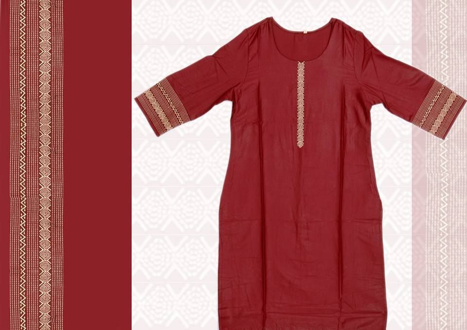 A maroon kurta with beige weaves in the neckline and arms! Click here to buy : https://goo.gl/A3OblH