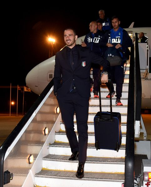 Leonardo Bonucci of Italy arrives to Skopje on October 8, 2016 in Skopje, Macedonia.