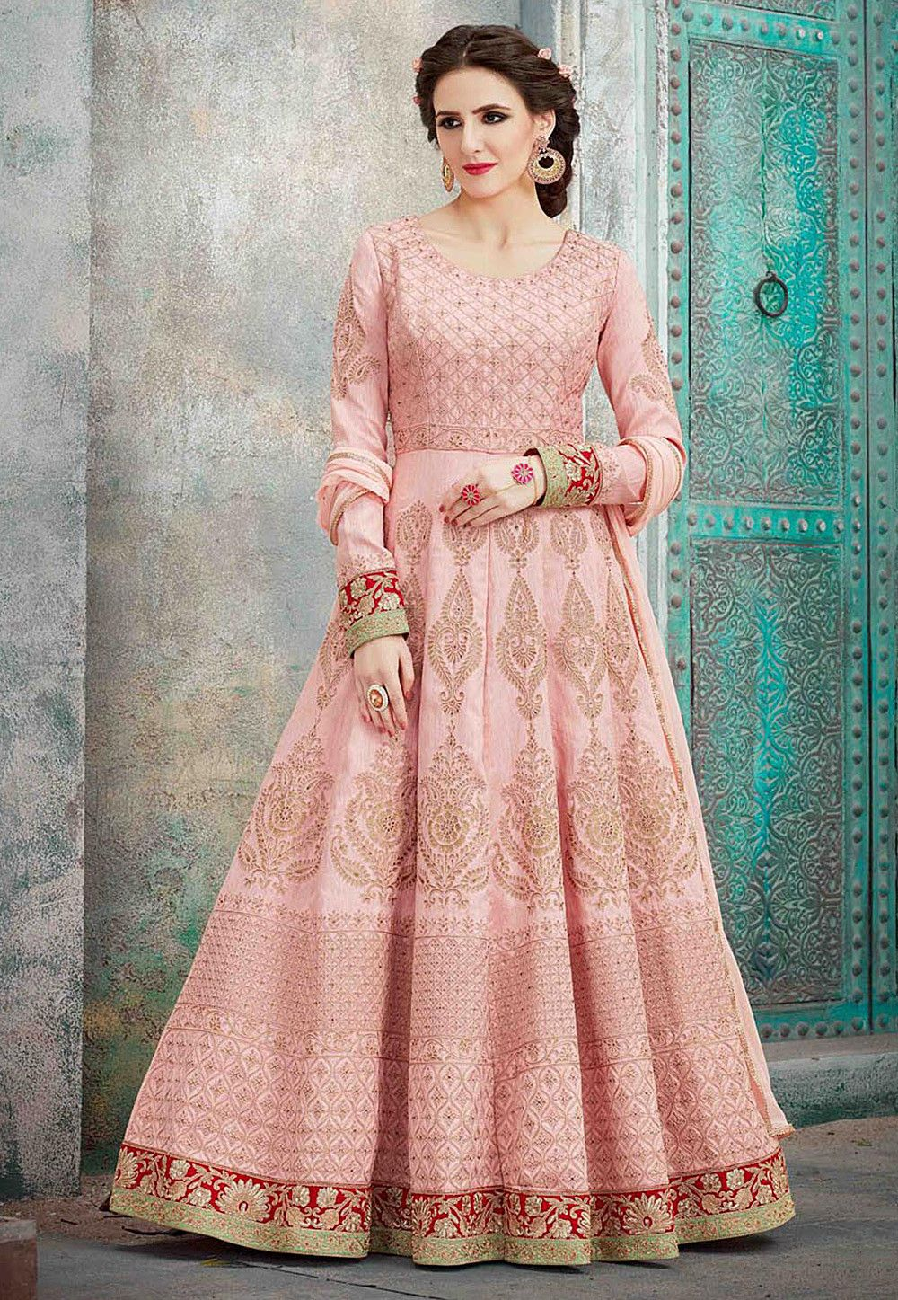 f6c25ef18c Buy Embroidered Art silk Abaya Style Suit in Peach online, Item code:  KGB3545, Color: Pink, Occasion: Party, Wedding, Work: Bead Work,  Traditional, Zari, ...