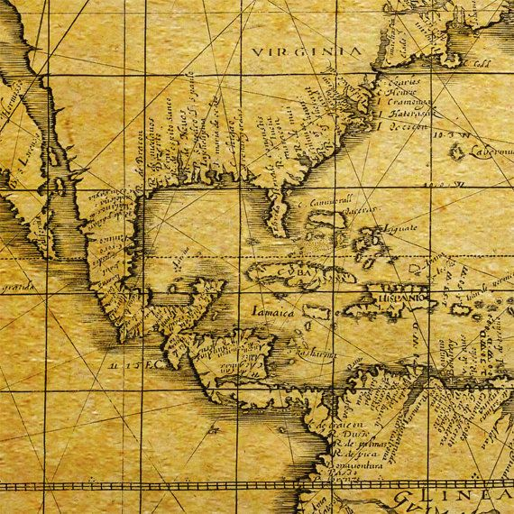 Pirate map of the World 1657 Old nautical chart up to 54x36 - best of world map white background