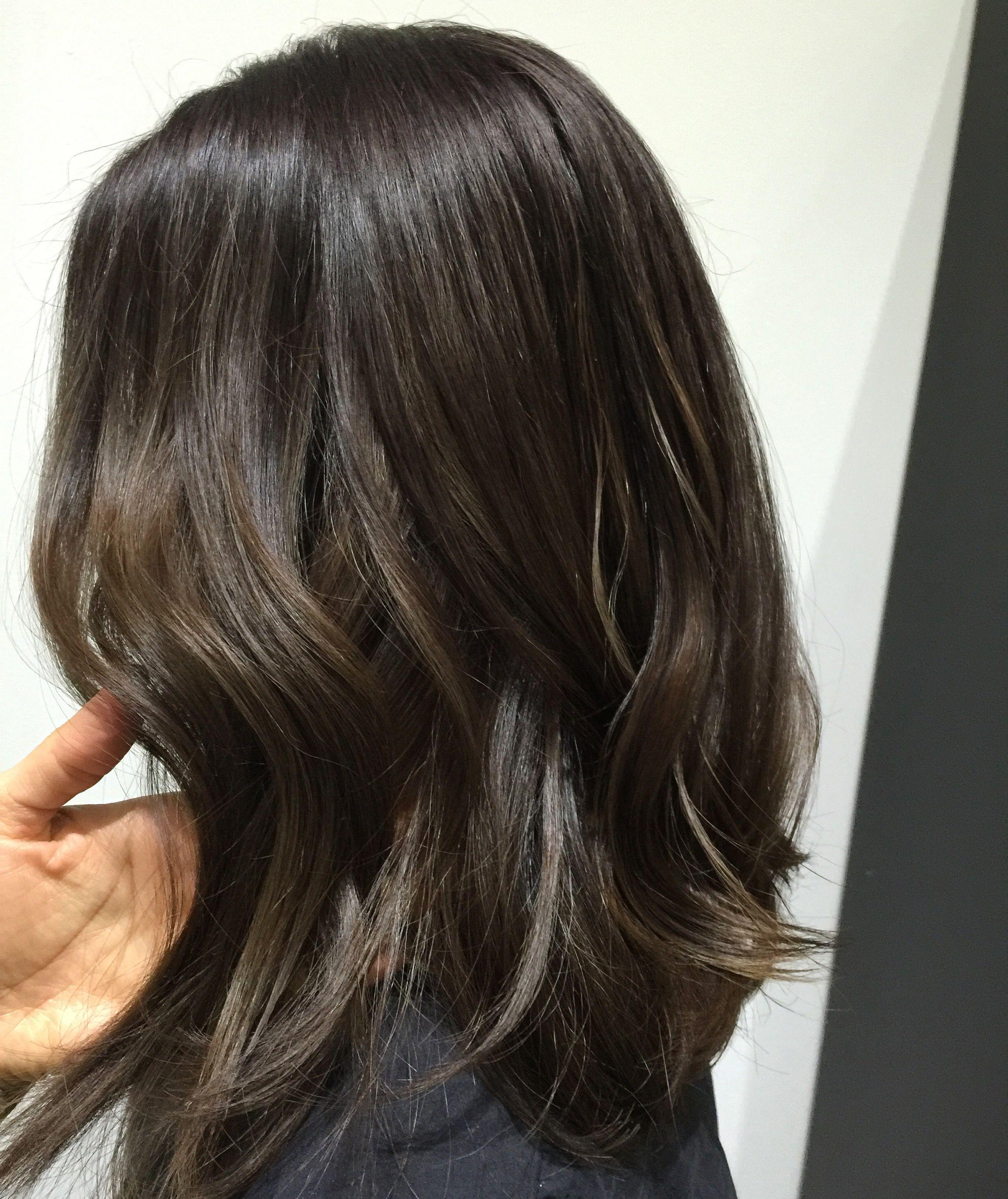 Subtle Brown Balayage Hair Color Asian Brunette Hair Asian Hair