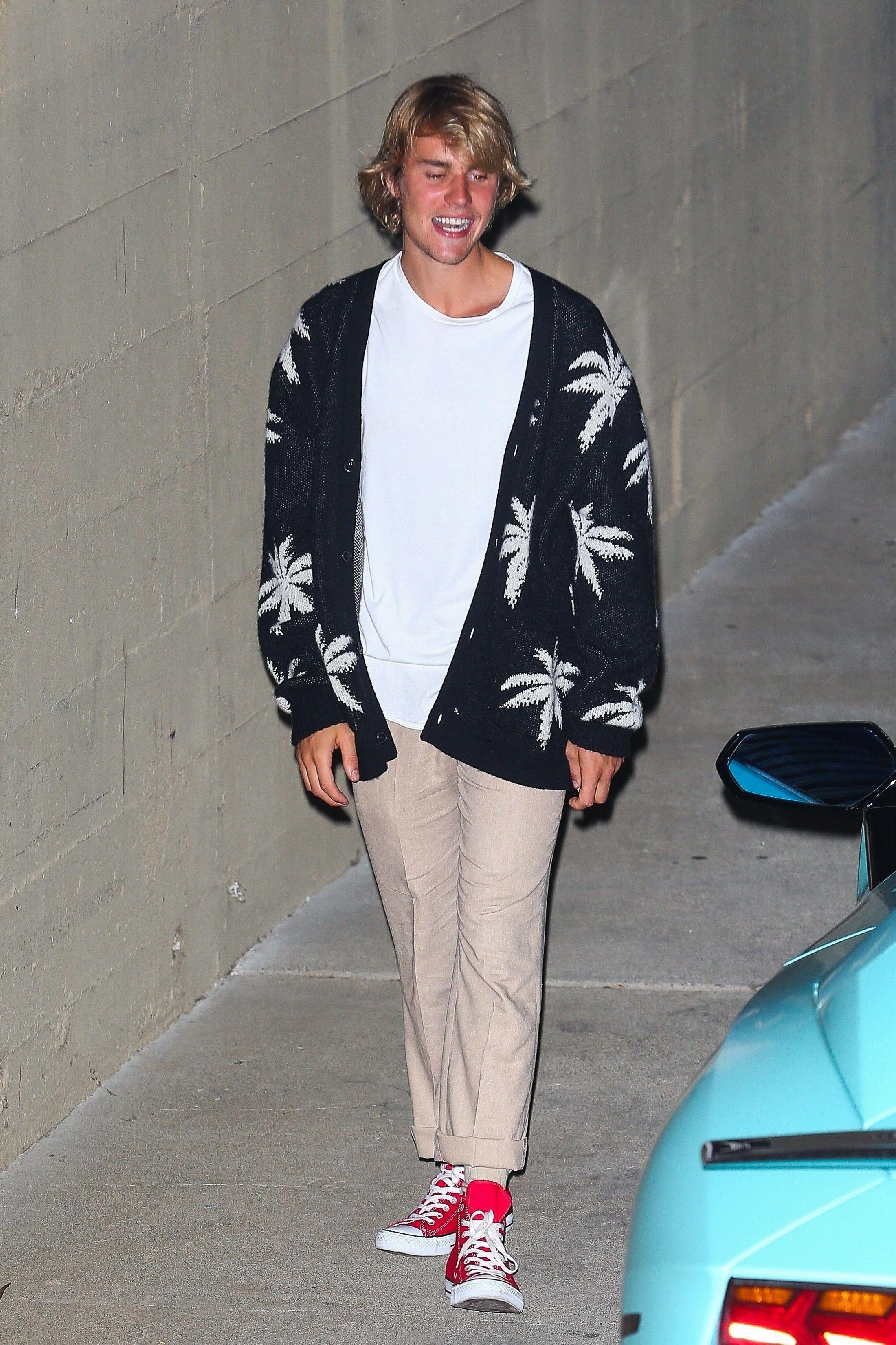 b3f2ff6be1a8 Justin Bieber wearing Amiri Palm Cardigan
