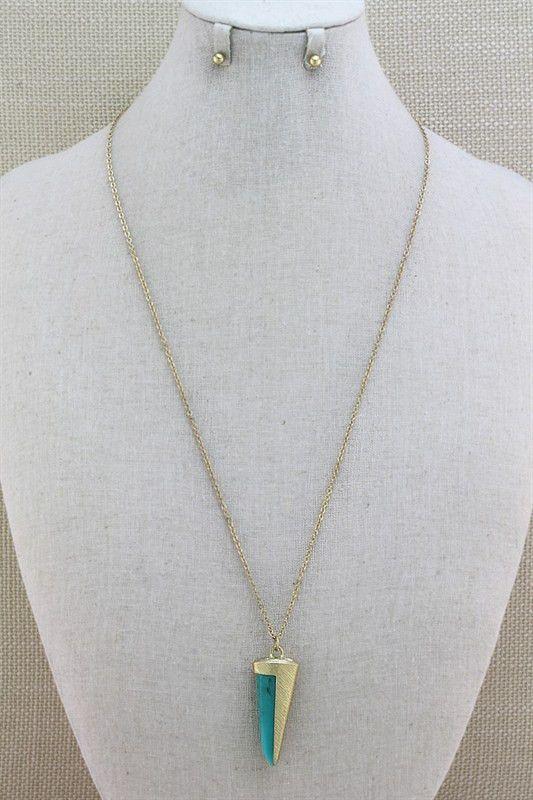 Boho Pendant Necklace -Turquoise | ShopbellaC