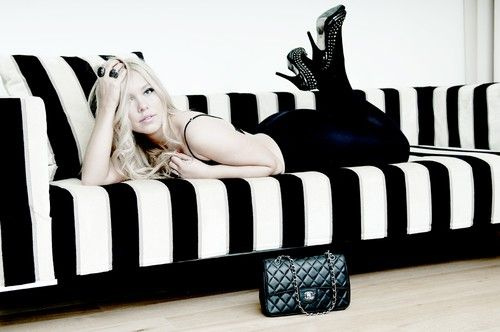 Black And White Striped Couch Rock Style Glam Rock Black White