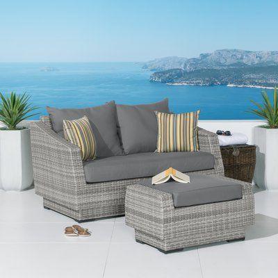 Wade Logan Castelli Loveseat With Cushions Wicker Patio Furniture Set Outdoor Wicker Furniture Outdoor Sofa