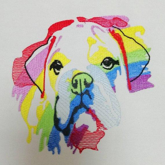 English Bulldog Embroidery Design Rainbow Watercolor pes