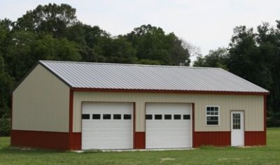 Tan With Red Wainscoting Steel Building And Gray Roof Google Search Pole Barn Homes Building A Pole Barn Pole Barn Kits