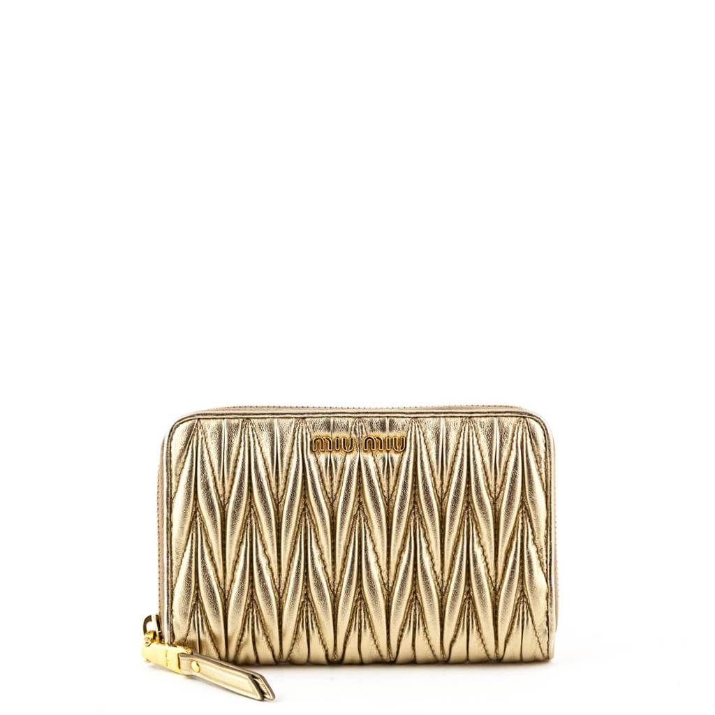 Miu Miu Gold Matelasse Nappa Gathered Zip Wallet Designer Bags With Images Zip Wallet Miu Miu Bags Designer