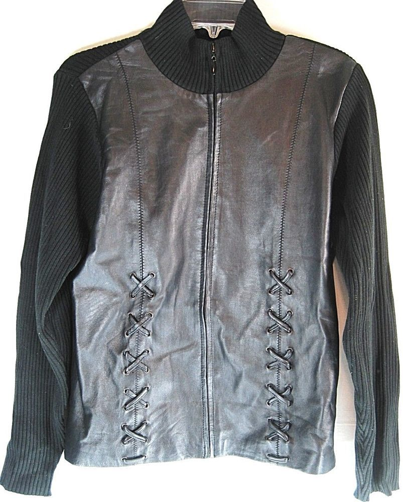 Women Leather Jacket Sweater By Escapade Size L Black Zip-Up. SSS ...