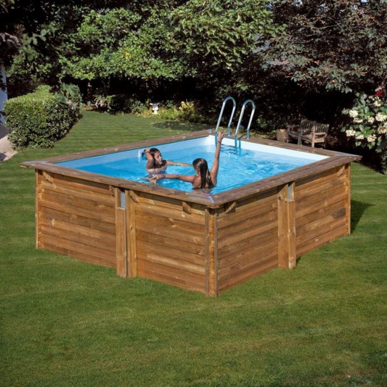 Pool Komplettset aus Echtholz Carra Quadrat 305 x 305 x