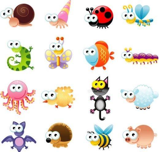 Free Set Of Vector Cute Cartoon Animals Titanui Cartoon Animals Cute Cartoon Animals Cute Animals