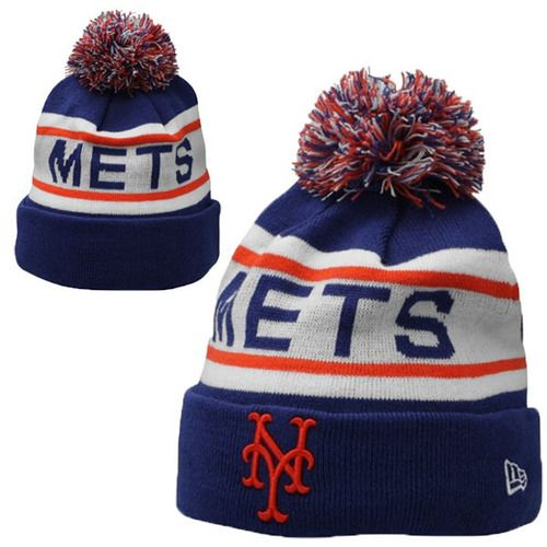 New York Mets MLB Biggest Fan Pom Beanies Knit Hats Cap  d32d9cb46c0