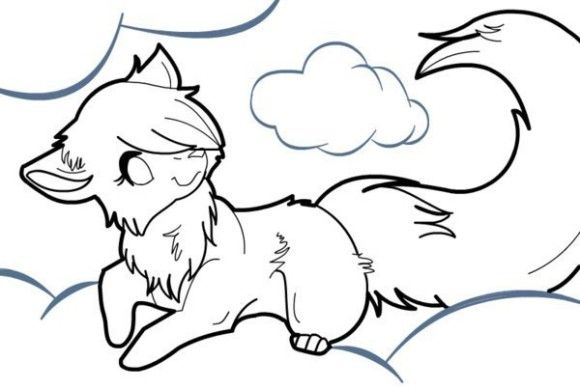Simple Wolf Drawings Learn How To Draw Fox Coloring Page