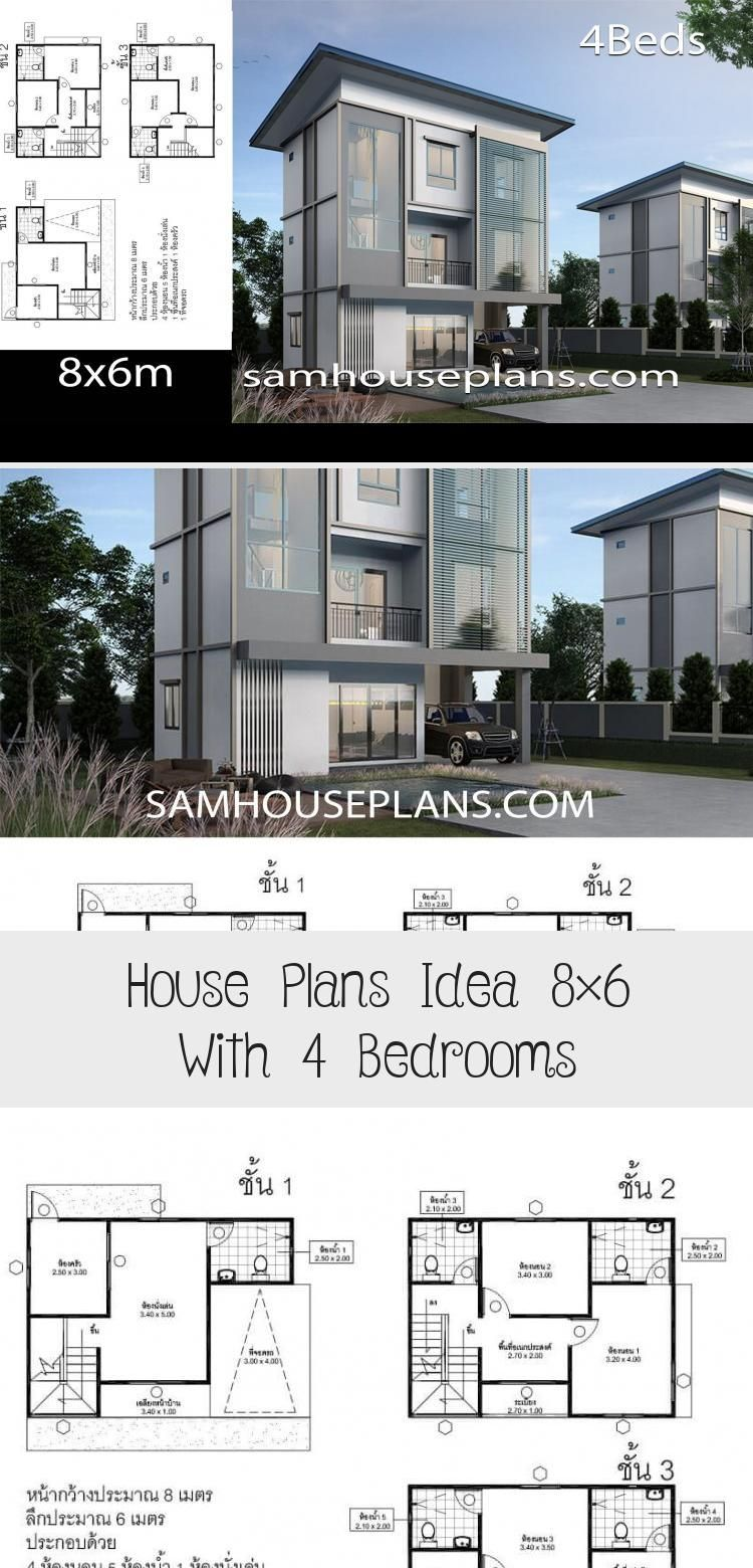 House Plans Idea 8 6 With 4 Bedrooms In 2020 House Plans Floor Plan 4 Bedroom House