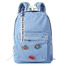 e8a95c4f7 Moda Feminina lona sacos de escola para adolescentes mochila escolar  mochilas jeans meninas calças de brim sacos laptop mochila bonito feminino(China  ...