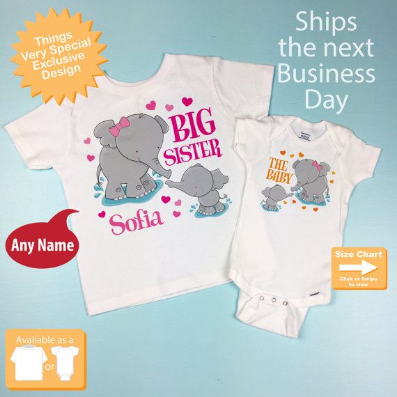 39b59eaf Set of Two Personalized Elephant Big Sister by ThingsVerySpecial ...