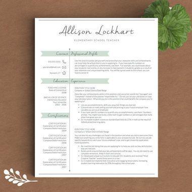 Resume Templates For Teachers 19 Professional But No Less Adorable Resume Templates  Pinterest .