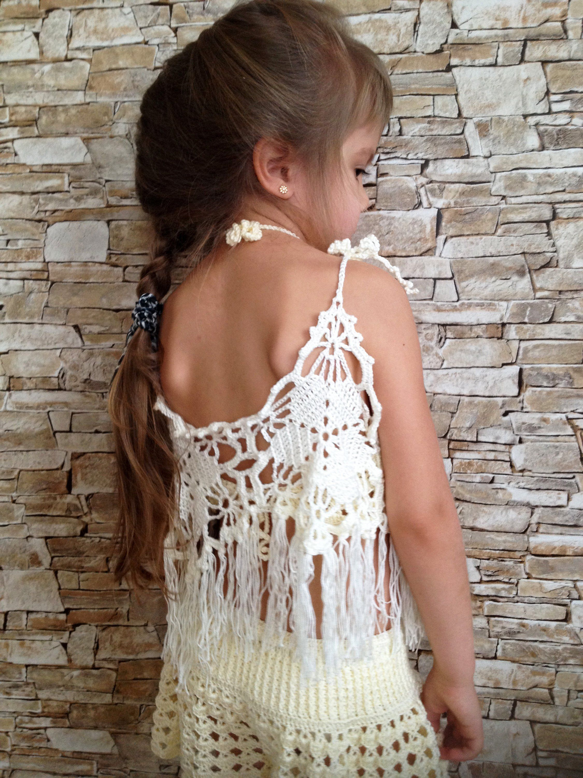 Beach clothing for kids Crochet toddler set top and shorts Ivory crochet lace shorts crop top Toddler outfit Open back top Crochet shorts