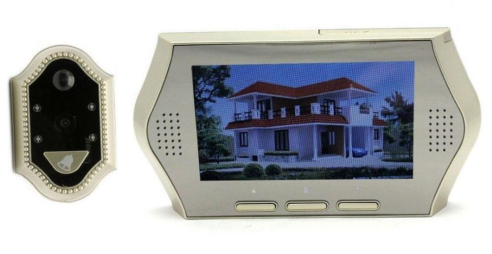 El envío gratuito ! Detección de movimiento de la lente del Gran timbre Bigger4.3 ' ' Pantalla mirilla Puerta Visor de la cámara DVR Noche en Porteros Automáticos de Mejoras para el Hogar en AliExpress.com | Alibaba Group