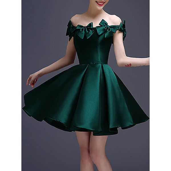 Dark Green Bowknot Off Shoulder Lace Up Back Homecoming Dress ($92 ...