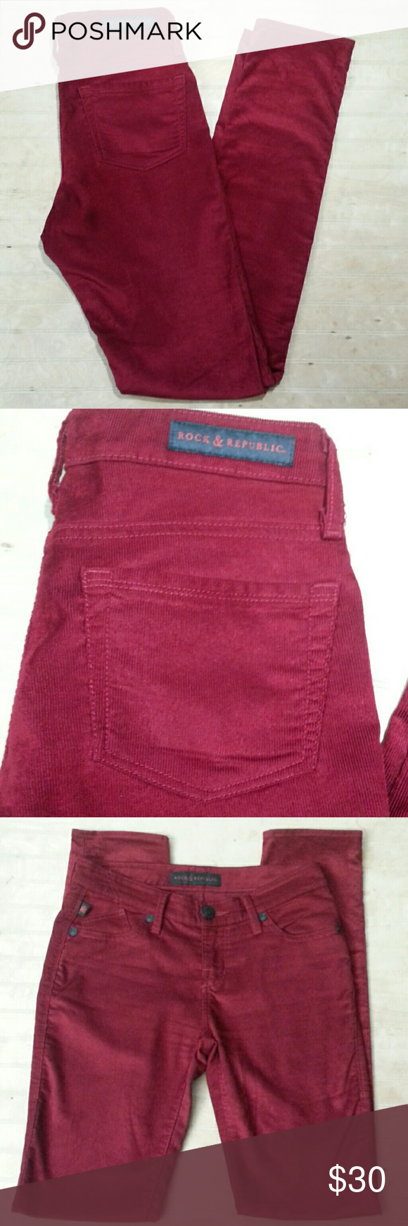 "Rock & Republic Berlin Cords These are a rich red with an eye catching sheen and softness. They are a darker, prettier red in person than in the photos.  The Berlin has a slim fit with a longer inseam and midrise  14.5""waist 8""rise 31.5""inseam 5.5""leg Rock & Republic Pants Skinny"