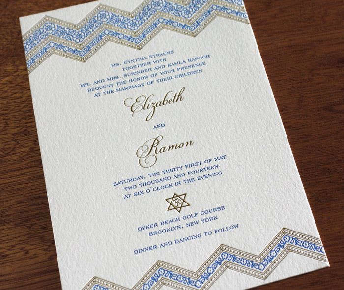 multicultural chevron letterpress wedding invitation and stationery design gallery sai by invitations by ajalon - Arabic Wedding Invitations