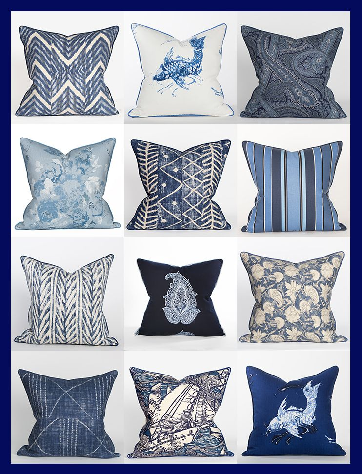 Ralph Lauren Blue White Fabrics Coastal Home Pillows Gray