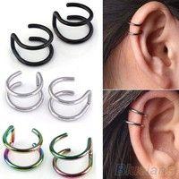 Men's Women's Fashion Punk Jewelry Clip-on Earrings Non-piercing Cartilage Cuff Eardrop steel Ear Clip