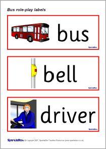 Bus role-play labels (SB635) - SparkleBox   Preschool Role