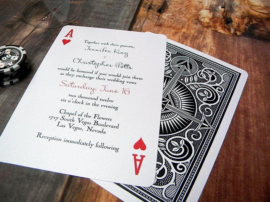 Vegas Wedding Invitation: Poker Playing Card Wedding Invitation DEPOSIT By
