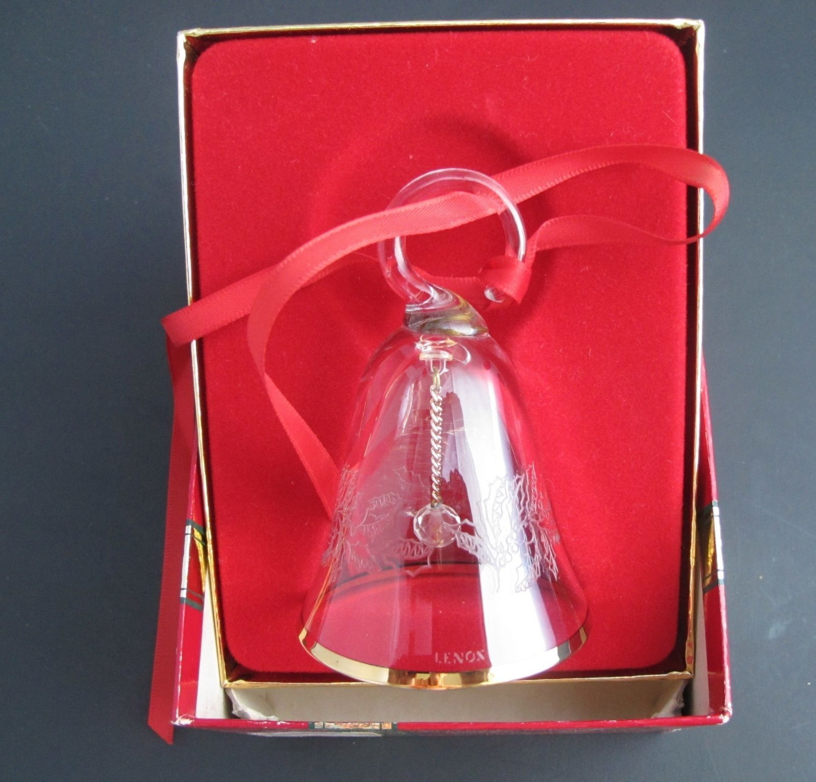 Miniature crystal ornaments - Lenox Crystal 1985 Holly Miniature Bell Ornament Hand Blown Made In Usa
