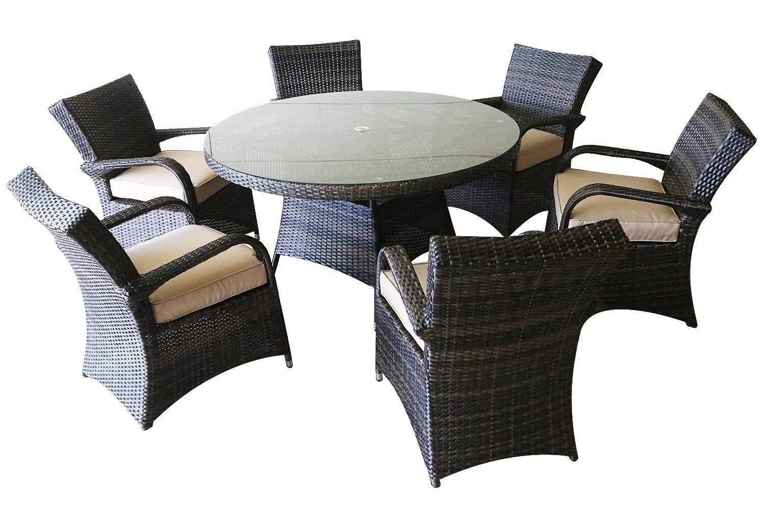 Patioption 7 Pieces 6 Seats Outdoor Patio Furniture Dining Table