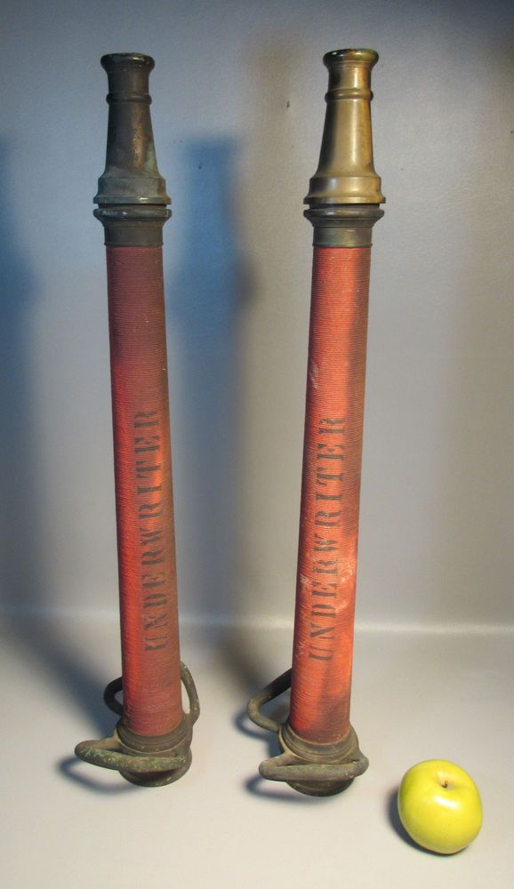 Two Bronze Underwriter Fire Hose Nozzles c1884 Boston Woven Hose u0026 Rubber ... & Two Bronze Underwriter Fire Hose Nozzles c1884 Boston Woven Hose ...