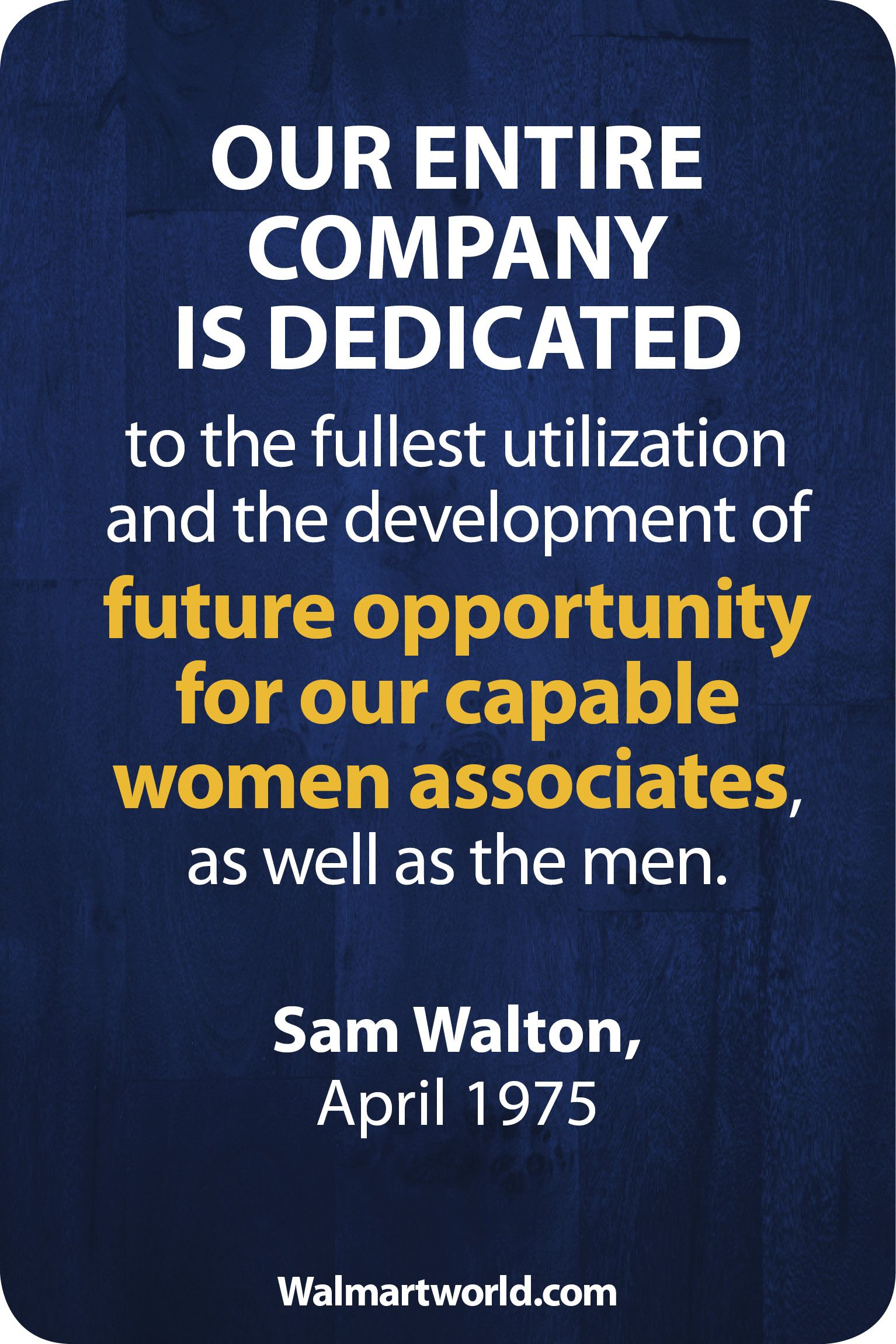 Message from sam walton october 1975 heritage our