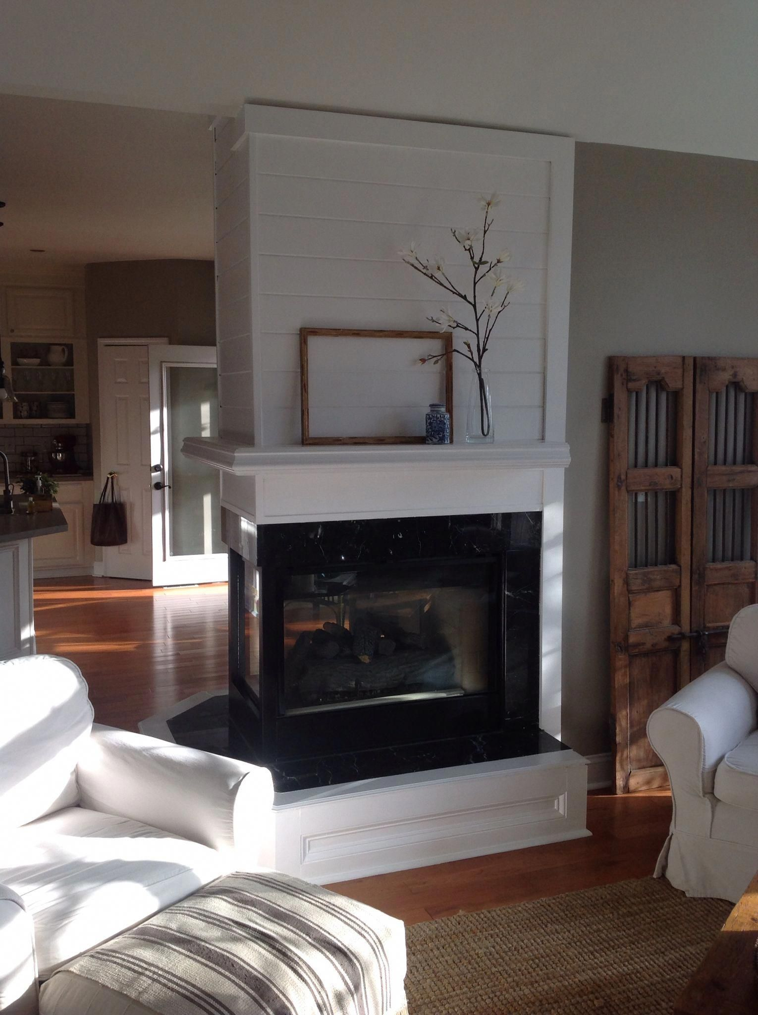Three Sided Fireplace With Mantle Fireplacemakeover