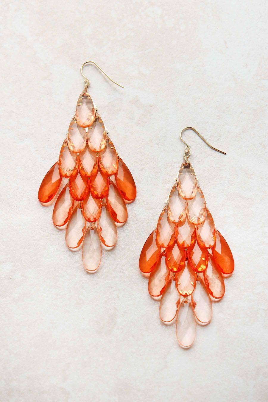 Apricot Watercolor Chandelier Earrings  