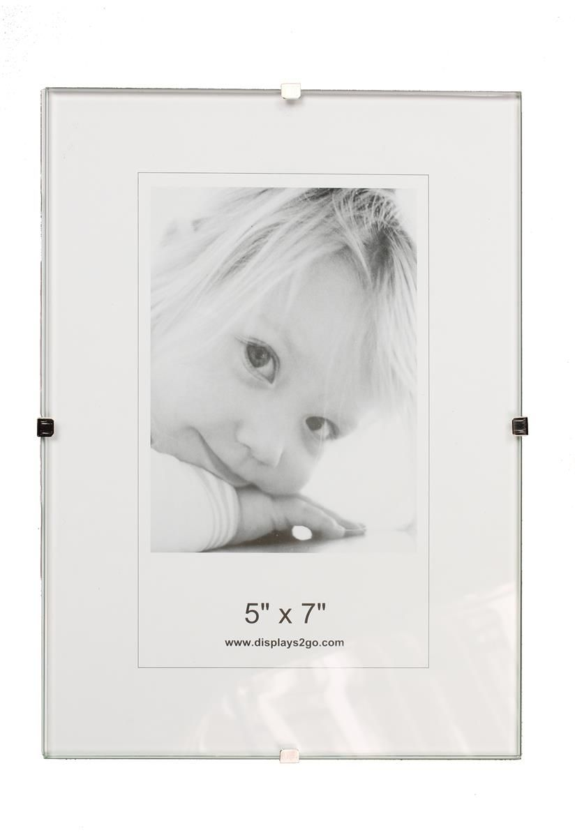 5 X 7 Frameless Picture Frame Table Or Wall With Side Clips