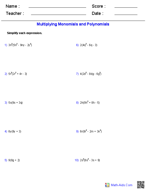 Multiplying Polynomials Worksheets  MathAidsCom