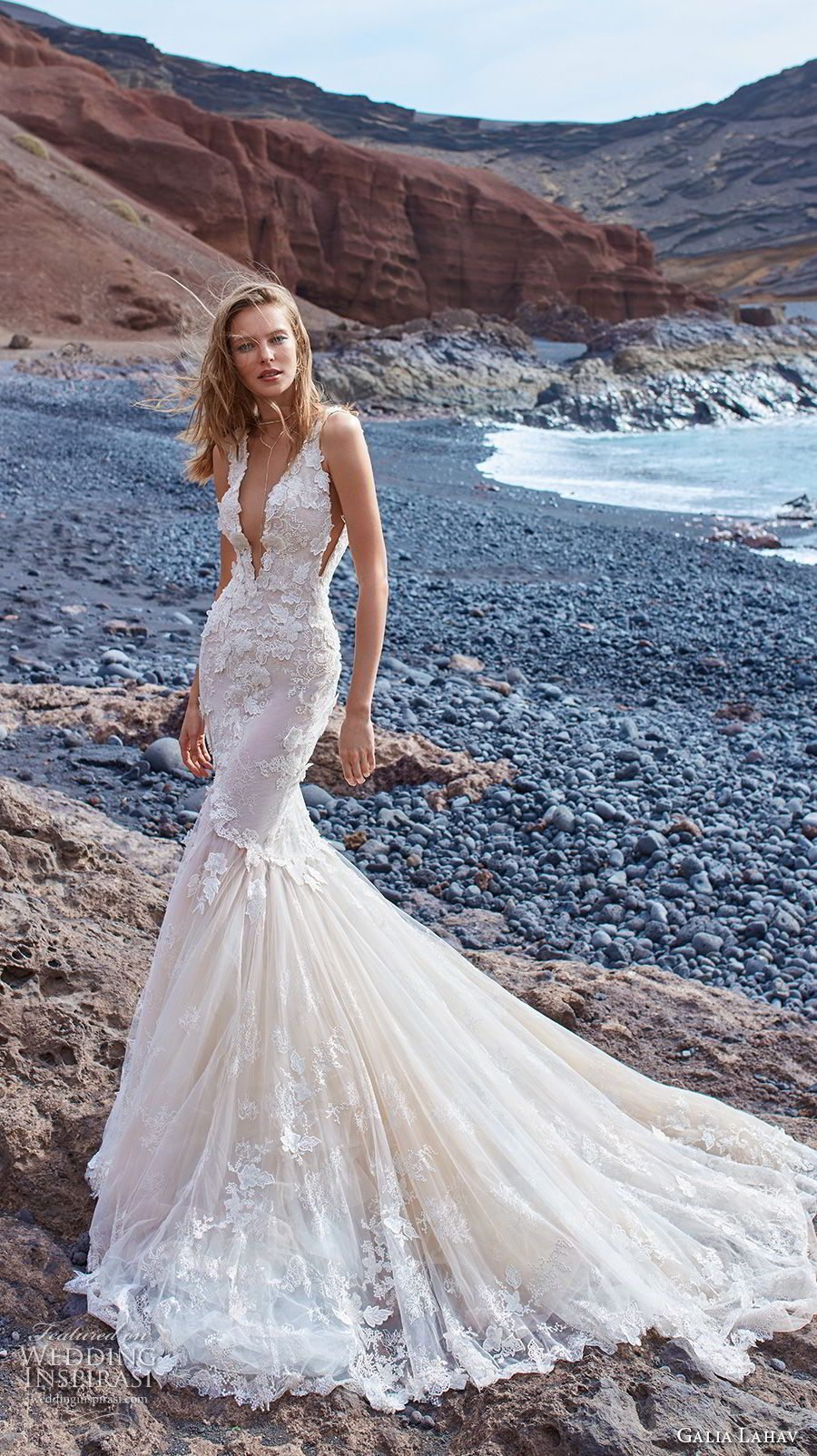 Galia Lahav Gala 2018 Bridal Sleeveless Deep V Neck Heavily Embellished Bodice Open Side Elegant Y Mermaid Wedding Dress Back Chapel Train 3 Mv