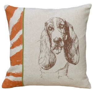 123 Creations Basset Hound 100pct Linen Screen Print Pillow, definitely need this