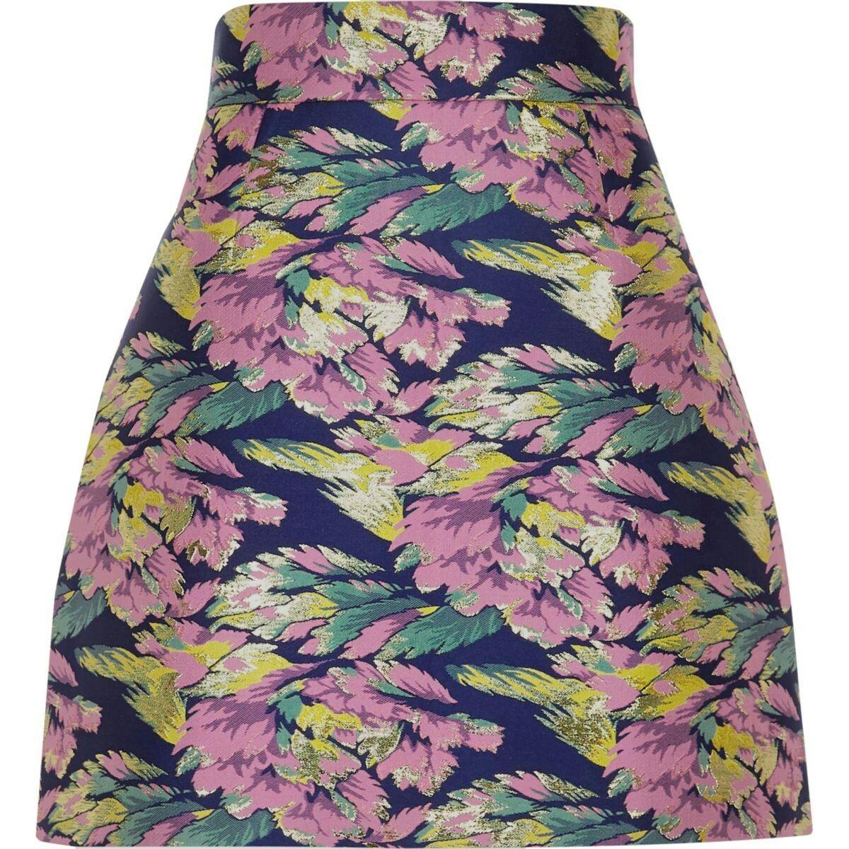 bda352a61cba Blue floral jacquard mini skirt | River Island Skirts | Mini skirts ...