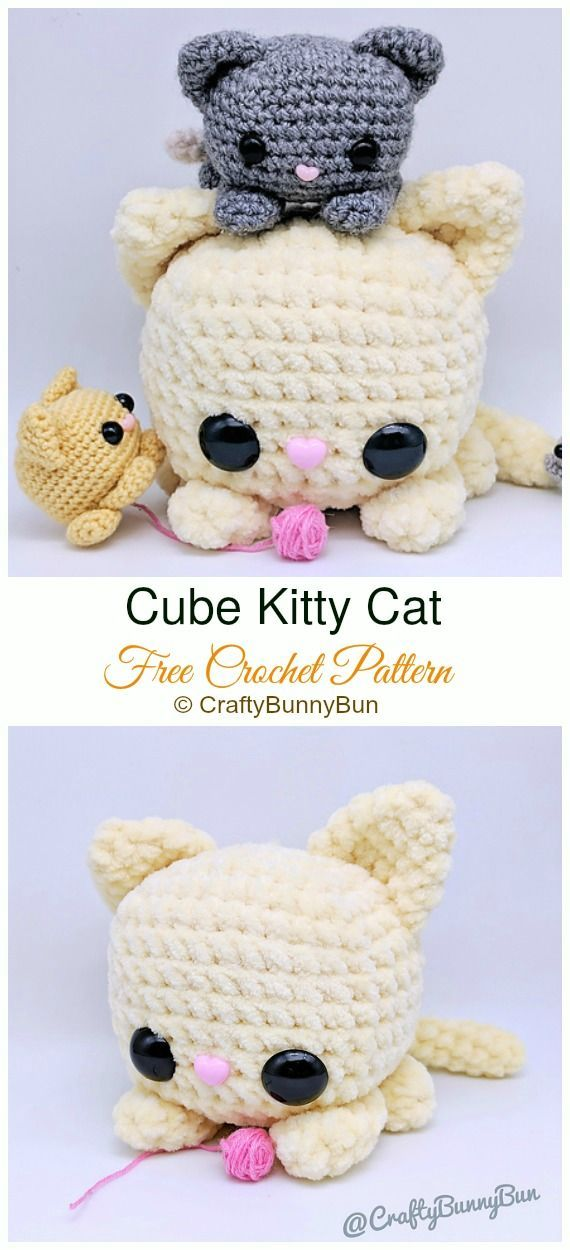 Crochet Amigurumi Cat Free Patterns Cube Kitty Cat Crochet Amigurumi Free Pattern  Softies Free Crochet Patterns