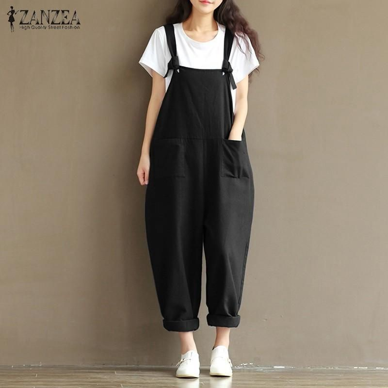 f0ee120735cc6 2017 Summer Autumn ZANZEA Rompers Womens Jumpsuits Vintage Sleeveless  Backless Casual Loose Solid Overalls Strapless Paysuits