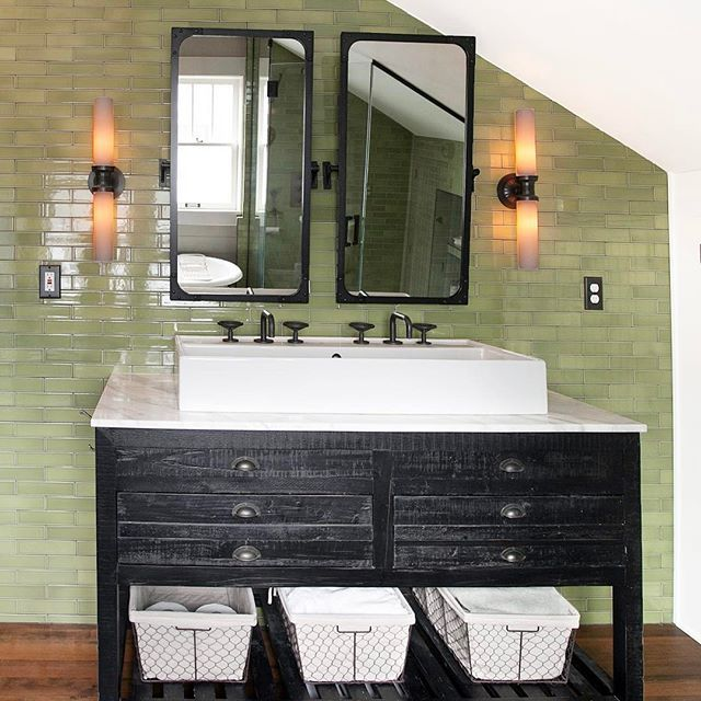 Happy Modwalls Monday! Today we're featuring a cool modern master bath tile with our Kiln American made ceramic tile in 2x8 subway size. Choose from 75 colors This color is Olive. Interior design by @mossinterior. #modwallsmonday #interiordesign #designertile #masterbath #modwalls #moderntile