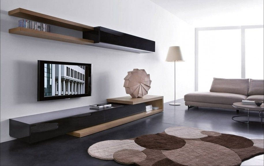 Attractive Astonishing Unique Shelving Units Wonderful Open Space Contemporary Living  Room Design Ideas With Wood Wall