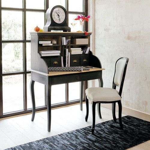 bureau secr taire en manguier noir chalk paint vintage. Black Bedroom Furniture Sets. Home Design Ideas