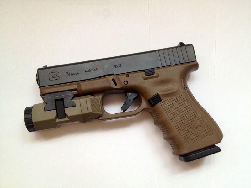 Gen 4 Glock 19 in FDE, with an FDE APL. We'd like it ...