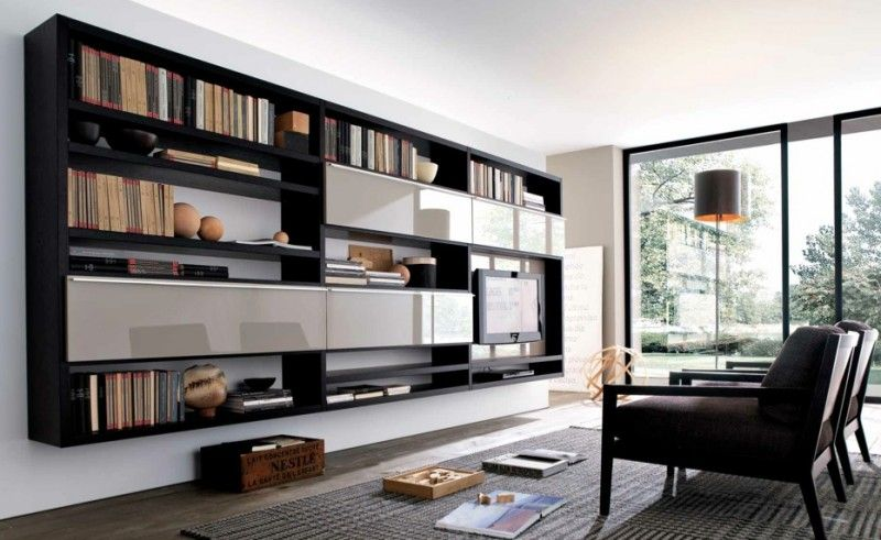 MisuraEmme Futuristic Furnitures For Modern Living Room Designs Integrated  Bookshelves With TV Cabinet For Entertainment Center